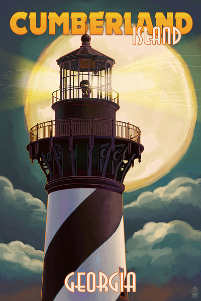 Cumberland Island Lighthouse with Moon Lantern Press Postcard