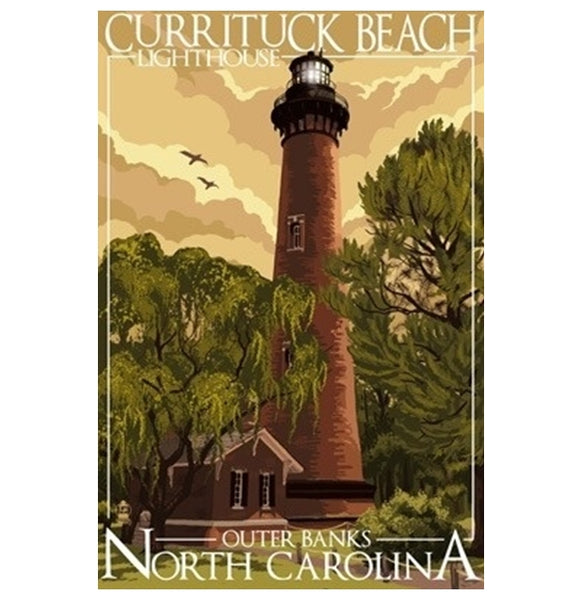 Currituck Beach, NC Lighthouse Lantern Press Postcard