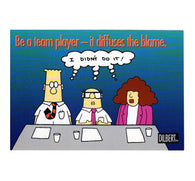 Be a Team Player Scott Adams Dilbert Comic Postcard