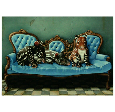 Visser Tapirs on Sofa Inkognito Postcard