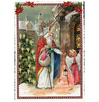 Glittery Tausendschoen Editions St. Nick and Angel Postcard