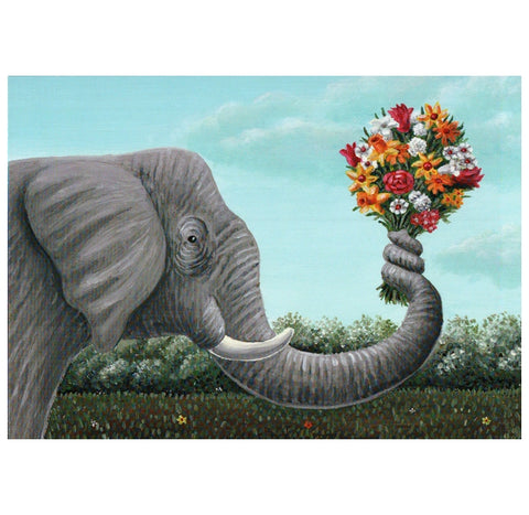 Holtfreter Elephant with Flowers Inkognito Postcard
