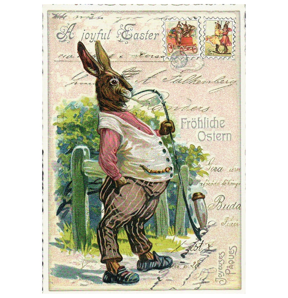 Glittery Tausendschoen Editions Rabbit with Pipe Postcard