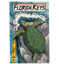 Woodblock Florida Keys Sea Turtle Lantern Press Postcard