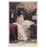SATISFACTION classic Edwardian boudoir antique french hand tinted postcard carte postale unwritten blank