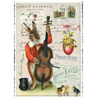Glittery Tausendschoen Editions Rabbit with Cello Postcard