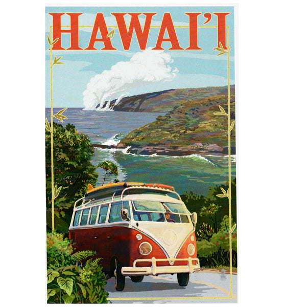 Hawaii VW Van and Volcano Lantern Press Postcard