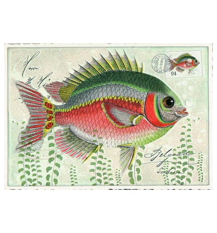 Glittery Tausendschoen Editions Green Fish Postcard