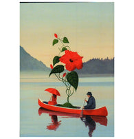Meister Red Flower in Canoe Inkognito Postcard