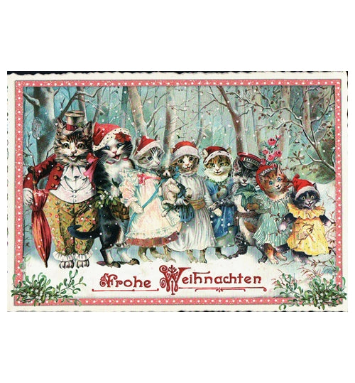 Glittery Tausendschoen Editions Christmas Cats Postcard