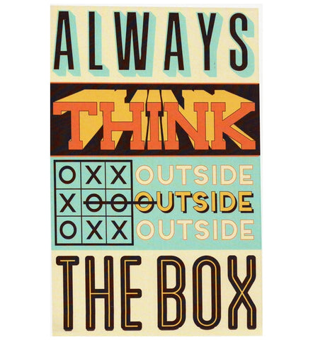 Quote Always Think Outside the Box Typography Lantern Press Postcard