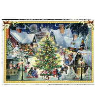 Glittery Tausendschoen Editions Christmas Village Postcard
