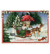 Glittery Tausendschoen Editions Sled and Mushroom Postcard