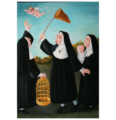Tiemann Nuns Catching Angel Inkognito Postcard