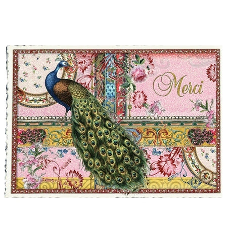 Glittery Tausendschoen Editions French Peacock Postcard