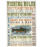 Fishing Rules Typography Lantern Press Postcard