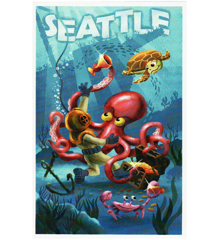Seattle Octopus and Diver  Lantern Press Postcard