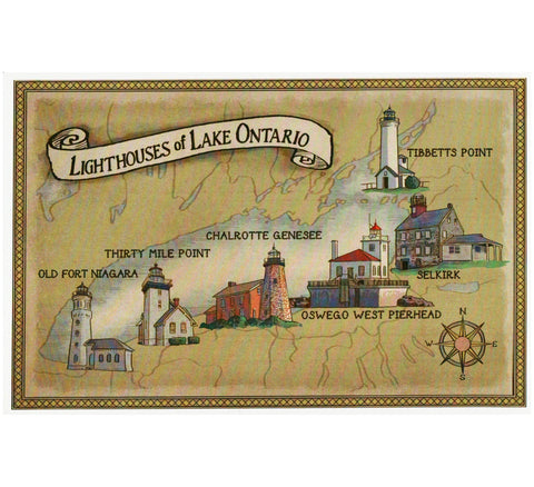 Map Lighthouses of Lake Ontario Lantern Press Postcard