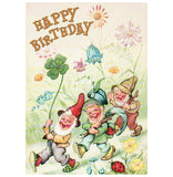 Glitter Gnome Happy Birthday Vintage Reproduction Tushita Postcard