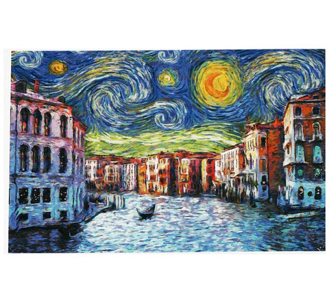 Starry Night Venice Italy Lantern Press Postcard