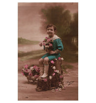 French tinted sepia RPPC - little boy