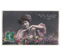 Friendship is a flower - Edwardian lady - French tinted sepia RPPC real photo postcard