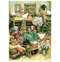 Inge Look Aunties and Chickens Postcard