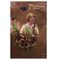 Art Deco woman with pansies - French tinted sepia RPPC real photo postcard