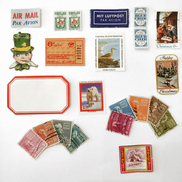 Vintage Paper Ephemera - stamps, stickers and tickets