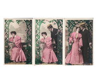 set 3 AUTHOR and MUSE romantic love antique french postcards cartes postales hand tinted photo