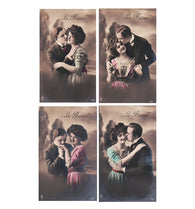 4 Le BAISER (The KISS) antique french hand tinted postcards cartes postales