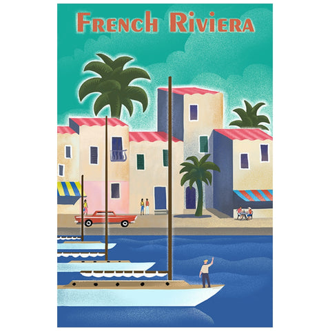 French Riviera Travel Poster Lantern Press Postcard