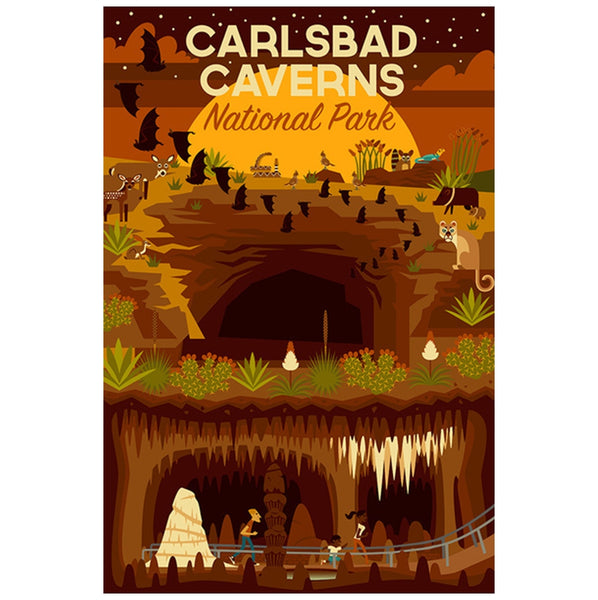 Geometric Carlsbad Caverns Lantern Press Postcard
