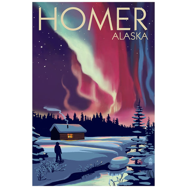 Homer, Alaska Northern Lights Lantern Press Postcard