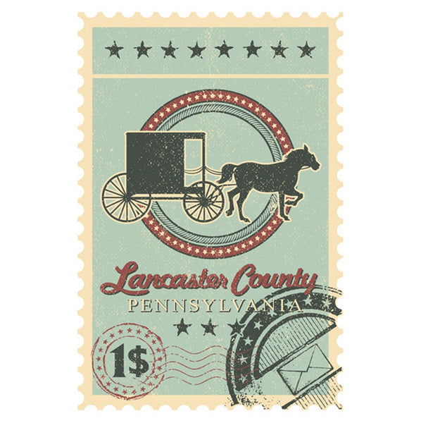 Lancaster County Postage Stamp Lantern Press Postcard