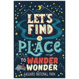 Quote Lets Find a Place to Wander & Wonder  Lantern Press Postcard