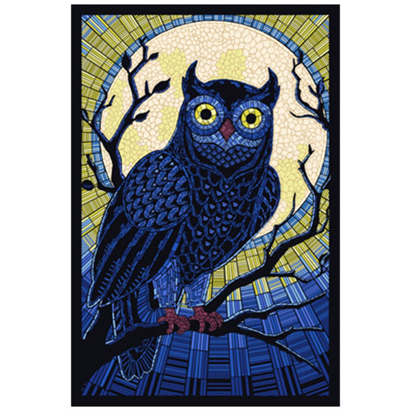 Mosaic Hoot Owl  Lantern Press Postcard