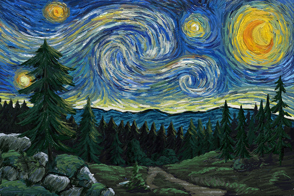 Starry Night Pacific Pacific Northwest Lantern Press Postcard
