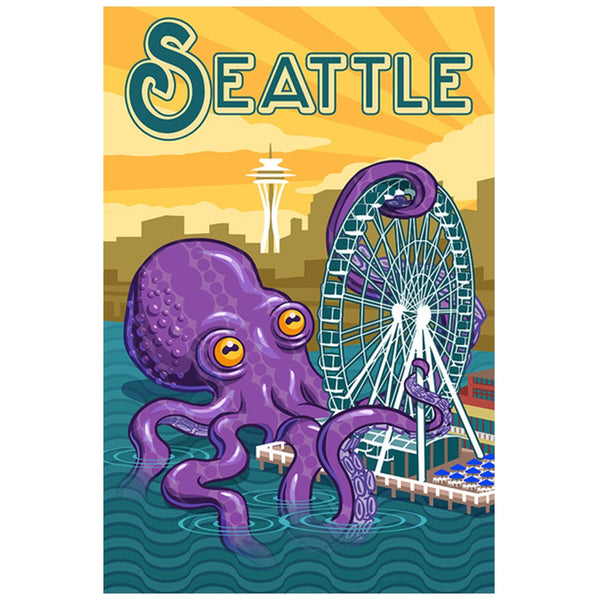 Seattle Octopus and Ferris Wheel  Lantern Press Postcard
