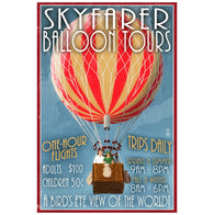 Skyfarer Balloon Tours Travel Poster Lantern Press Postcard