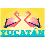 Geometric Yucatan Flamingos Lantern Press Postcard