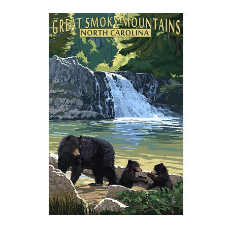 Great Smoky Mountain BEARS Lantern Press Postcard