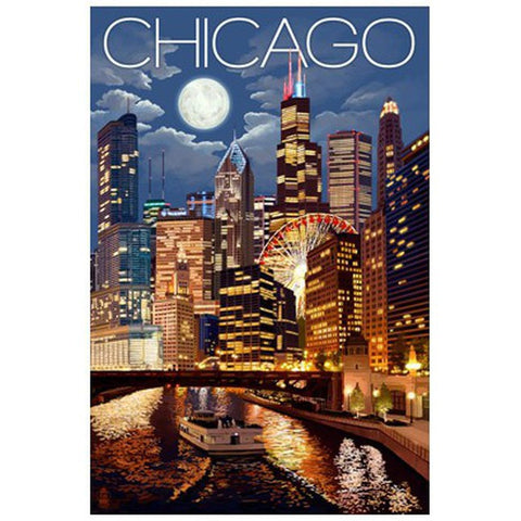Chicago, Illinois Night View - Lantern Press Postcard