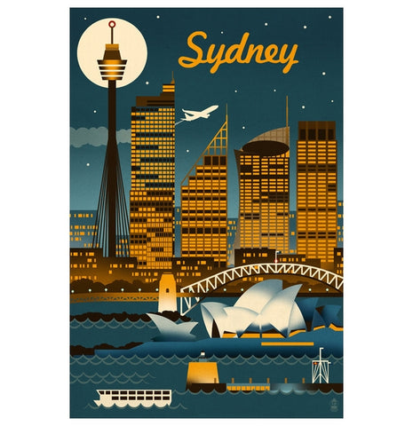 Retro Skyline Sydney, Australia Lantern Press Postcard