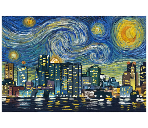 Starry Night Boston, MA Lantern Press Postcard