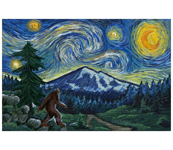 Starry Night Mount Baker, WA Bigfoot Lantern Press Postcard
