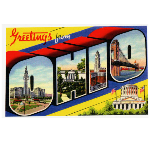 Ohio Large Letter Postcard