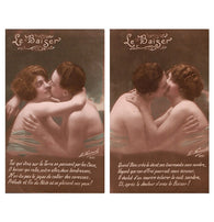 two Le BAISER (The KISS) antique french hand tineted postcards cartes postales