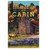 Quote Life is Better at the Cabin Lantern Press Postcard
