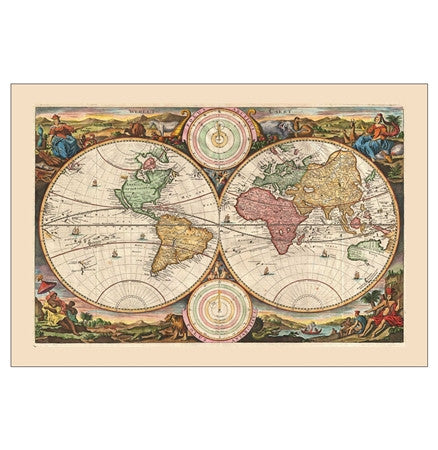 1730 antique world map by Stoopendaal